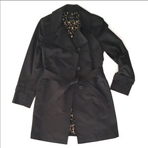EUC Ann Taylor black mid length trench coat sz med